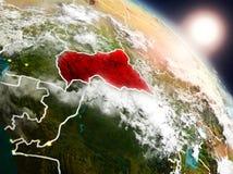 Centrala Afrika från utrymme under soluppgång Royaltyfria Bilder
