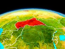 Centrala Afrika i rött Royaltyfri Fotografi