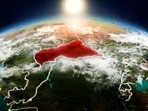 Centrala Afrika i soluppgång från omlopp Fotografering för Bildbyråer