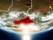 Centrala Afrika med solen på planetjord Royaltyfri Bild