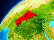 Centrala Afrika på jord från utrymme Royaltyfri Foto