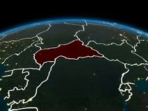 Centrala Afrika på jord på natten Royaltyfria Foton