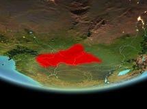 Centrala Afrika på natten på jord Arkivbild
