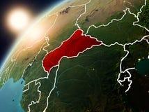 Centrala Afrika på planetjord i solnedgång Royaltyfri Foto