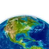 Centrala i Północna Ameryka na fizycznej kuli ziemskiej ilustracji