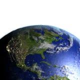 Centrala i Północna Ameryka na realistycznym modelu ziemia royalty ilustracja