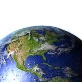 Centrala i Północna Ameryka na realistycznym modelu ziemia ilustracja wektor