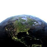 Centrala i Północna Ameryka na ziemi przy nocą - widoczny oceanu floo ilustracji