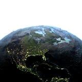 Centrala i Północna Ameryka na ziemi przy półmrokiem ilustracja wektor