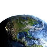 Centrala i Północna Ameryka na ziemi - widoczna ocean podłoga ilustracja wektor