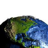 Centrala i Północna Ameryka na ziemi z przesadnymi górami ilustracja wektor