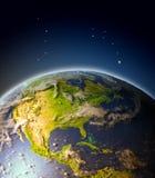 Centrala i Północna Ameryka od orbity ilustracja wektor