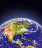Centrala i Północna Ameryka od przestrzeni ilustracji