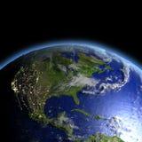 Centrala i Północna Ameryka od przestrzeni ilustracja wektor