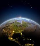 Centrala i Północna Ameryka od przestrzeni podczas wschodu słońca royalty ilustracja