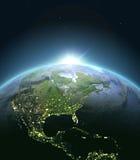 Centrala i Północna Ameryka od przestrzeni podczas wschodu słońca ilustracji