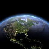 Centrala i Północna Ameryka od przestrzeni przy świtem royalty ilustracja