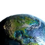 Centrala i Północna Ameryka od przestrzeni w ranku ilustracja wektor