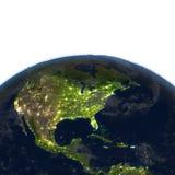 Centrala i Północna Ameryka przy nocą na planety ziemi ilustracja wektor