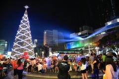 Centrala ljus för stad för nytt år för värld Royaltyfri Foto
