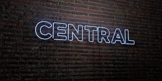 CENTRALA - Realistyczny Neonowy znak na ściana z cegieł tle - 3D odpłacający się królewskość bezpłatny akcyjny wizerunek royalty ilustracja