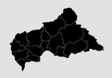 Centralafrikanska republiken översikt - detaljerad svart översikt för höjdpunkt med län/regioner/stater av Centralafrikanska repu royaltyfri illustrationer