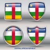 Centralafrikanska republiken flagga i samling för 4 former med den snabba banan Arkivfoton