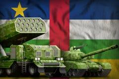 Centralafrikanska republiken tungt militärt pansarbilbegrepp på nationsflaggabakgrunden illustration 3d stock illustrationer