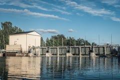 Centrale électrique électrique hydraulique Images libres de droits