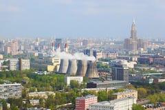 Centrale électrique dans la ville Moscou, Russie Photos libres de droits