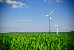 Centrale électrique de turbine d'énergie éolienne Photo stock