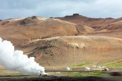 Centrale électrique géothermique de Krafla en Islande photographie stock libre de droits