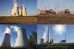 Centrale atomica Temelin, cartolina Fotografia Stock Libera da Diritti