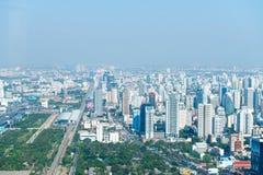 Centrale dawntown van de stad van Bangkok met de hoge horizon van de de bouwstad Royalty-vrije Stock Foto