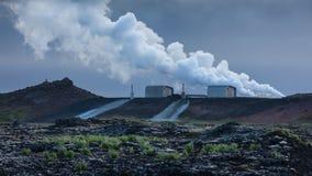 Centrale de Reykjanes à la région du sud-ouest de l'Islande photographie stock libre de droits