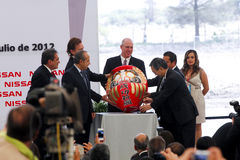 Centrale de véhicule neuve de Nissans au Mexique photo stock