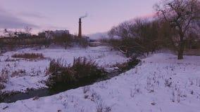Centrale del latte aerea al tramonto archivi video
