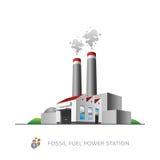 Centrale elettrica del combustibile fossile Fotografie Stock Libere da Diritti