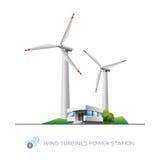 Centrale elettrica del generatore eolico Immagini Stock