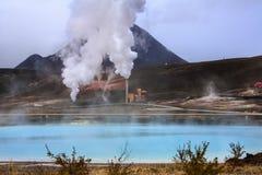 Centrale elettrica di energia geotermica di Bjarnarflag - Islanda Fotografie Stock Libere da Diritti