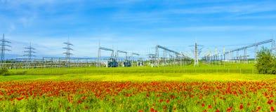 Centrale elettrica e stazione di distribuzione Fotografia Stock