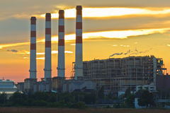 Centrale elettrica elettrica della turbina a gas Fotografie Stock