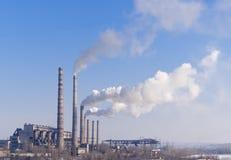 Centrale elettrica idroelettrica ed a carbone Fotografia Stock Libera da Diritti
