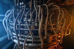 Centrale elettrica, l'area della centrale elettrica Alba di tramonto di luce solare immagini stock