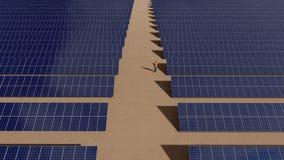 Centrale elettrica solare e lavoratore due che camminano intorno stock footage