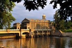 Centrale elettrica storica Podebrady dell'acqua Fotografia Stock Libera da Diritti