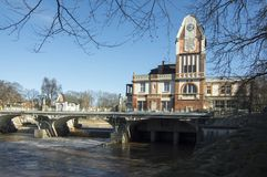 Centrale historique dans la ville Hradec Kralove dans la République Tchèque, jour ensoleillé d'automne image libre de droits