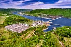 Centrale hydroélectrique dans Krasnoïarsk photo libre de droits