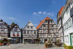 Centrale markt vierkante Vreithof in Soest royalty-vrije stock foto's
