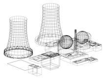 Centrale nucléaire - architecte Blueprint de réacteur nucléaire - d'isolement illustration stock